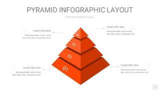 橘红色3D金字塔PPT信息图表1