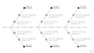 深紫色鱼骨PPT信息图表8