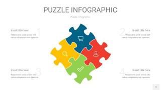 多彩色拼图PPT图表4