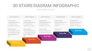 彩色3D阶梯PPT图表7