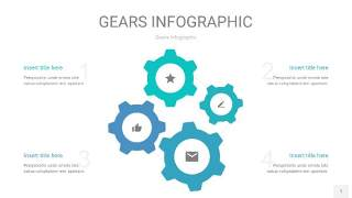 蓝绿色齿轮PPT信息图1