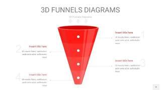 红色3D漏斗PPT信息图表4