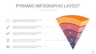 中紫色3D金字塔PPT信息图表8