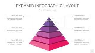 粉紫色3D金字塔PPT信息图表4