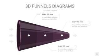 深紫色3D漏斗PPT信息图表10