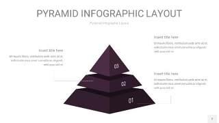 深紫色3D金字塔PPT信息图表2