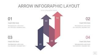中紫色箭头PPT信息图表5