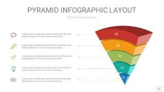 黄蓝绿色3D倒着金字塔PPT信息图表8