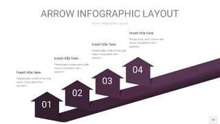 深紫色箭头PPT信息图表14