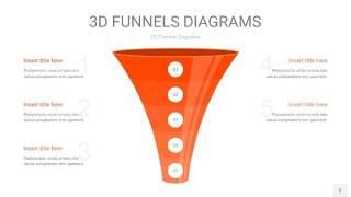 橘红色3D漏斗PPT信息图表3