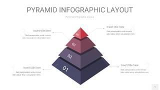 中紫色3D金字塔PPT信息图表1