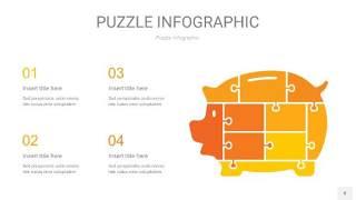 黄色拼图PPT图表8