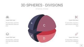 紫黄色3D球体切割PPT信息图8