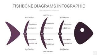 深紫色鱼骨PPT信息图表5