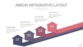 中紫色箭头PPT信息图表14