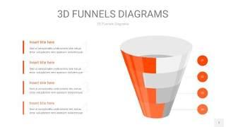 橘红色3D漏斗PPT信息图表7