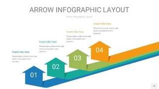 黄蓝绿箭头PPT信息图表14