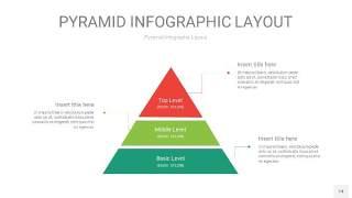 红绿色3D金字塔PPT信息图表14