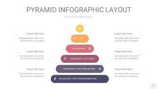 中紫色3D金字塔PPT信息图表9