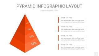 橘红色3D金字塔PPT信息图表5