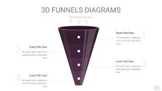 深紫色3D漏斗PPT信息图表4