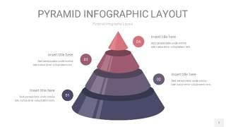 中紫色3D金字塔PPT信息图表7