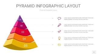 红黄色3D金字塔PPT信息图表6