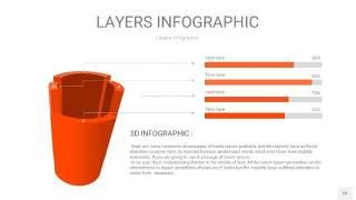橘红色3D分层PPT信息图53