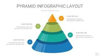 黄蓝绿色3D金字塔圆锥PPT信息图表7