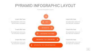 橘红色3D金字塔PPT信息图表9