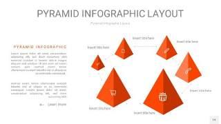 橘红色3D金字塔PPT信息图表24