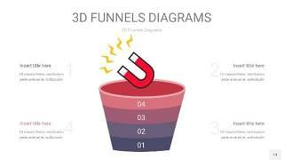 中紫色3D漏斗PPT信息图表14