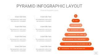 橘红色3D金字塔PPT信息图表11