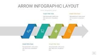 黄蓝绿箭头PPT信息图表11
