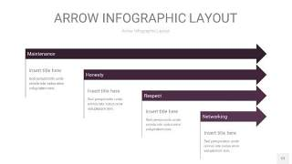 深紫色箭头PPT信息图表12