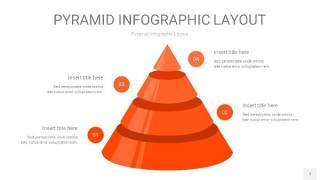 橘红色3D金字塔PPT信息图表7