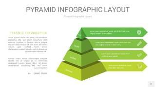 草绿色3D金字塔PPT信息图表22