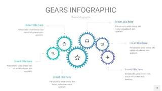蓝绿色齿轮PPT信息图14