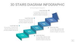 青色渐变3D阶梯PPT图表5