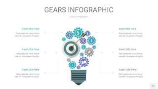 蓝绿色齿轮PPT信息图20