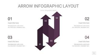 深紫色箭头PPT信息图表5