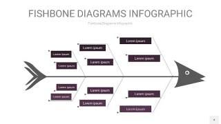 深紫色鱼骨PPT信息图表4