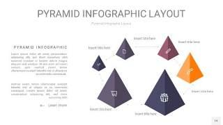 中紫色3D金字塔PPT信息图表24