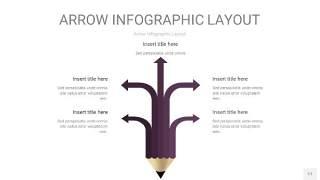 深紫色箭头PPT信息图表17