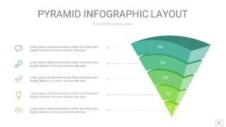 浅绿色3D金字塔PPT信息图表8