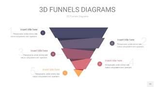 中紫色3D漏斗PPT信息图表13