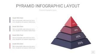 中紫色3D金字塔PPT信息图表3