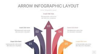 中紫色箭头PPT信息图表1