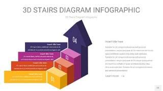 彩色3D阶梯PPT图表23