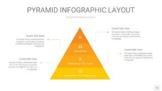 渐变黄色3D金字塔PPT信息图表18
